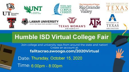 Humble ISD Virtual College Fair October 15, 2020